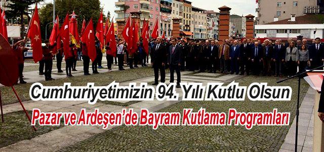 29 Ekim Cumhuriyet Bayramı Pazar ve Ardeşen'de 1 gün önceden, çelenk sunma töreni ile başladı...
