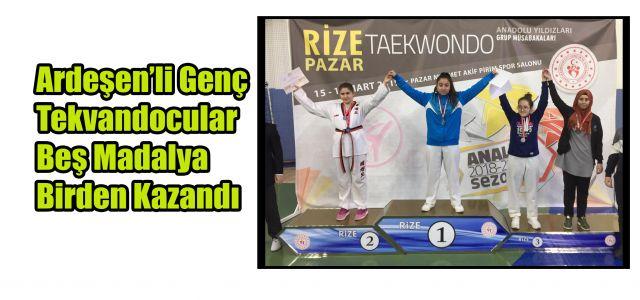 Ardeşen Belediye Spor Kulübü Tekvando branşı sporcularından 5 madalya