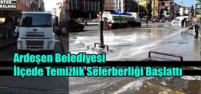 Ardeşen Belediyesi Sokak ve Caddeleri Tazyikli Su İle Yıkıyor