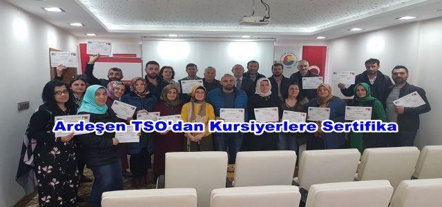 Ardeşen TSO'dan Kursiyerlere Sertifika