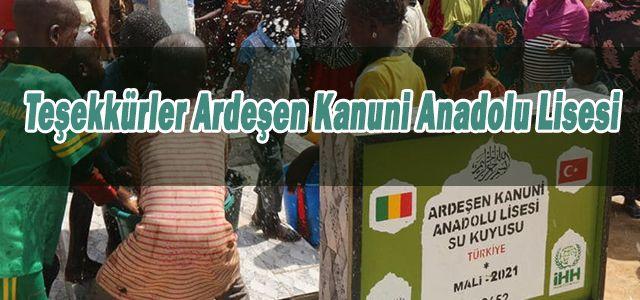 Ardeşen'de Eğitim Öğretim Veren Bir Okul Mali' de Su kuyusu Açtı