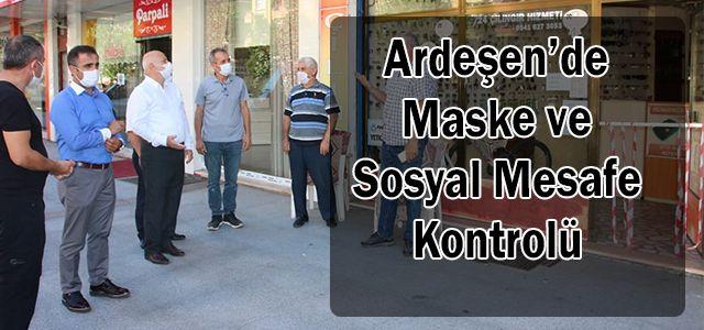 Ardeşen'de Maske ve Sosyal Mesafe Kontrolü