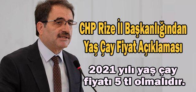 CHP Rize İl Başkanlığından Yaş Çay Fiyat Açıklaması