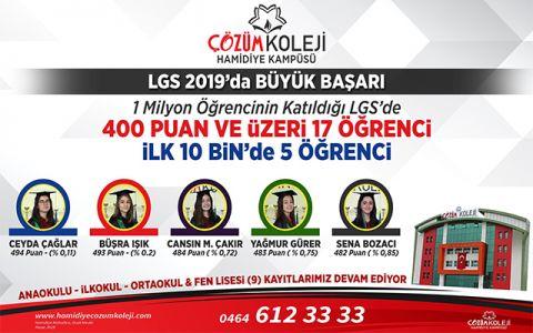 Hamidiye Çözüm Kolejinden LGS 2019'da Büyük Başarı