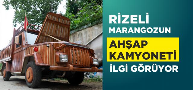 Rizeli marangozun ahşap kaplayarak kamyonete çevirdiği 1988 model otomobili ilgi görüyor