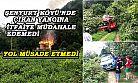 Şenyurt köyünde çıkan yangına yol engeli