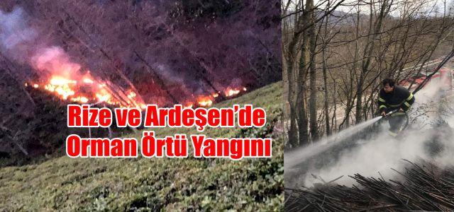 Trabzon'dan sonra Rize ve  Ardeşen'de de orman yangınları başladı