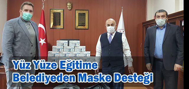 Yüz Yüze Eğitime Belediyeden Maske Desteği